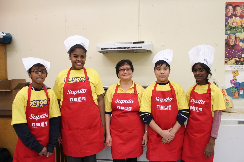 Jr Chefs wearing Saputo aprons
